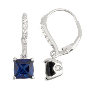 Gioelli Sterling Silver Diamond Accent Sapphire Leverback Earrings