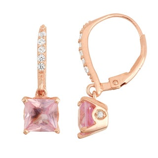 Gioelli Rose Goldplated Silver Diamond Accent Pink Sapphire Leverback Earrings