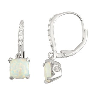 Gioelli Sterling Silver Diamond Accent Opal Leverback Earrings