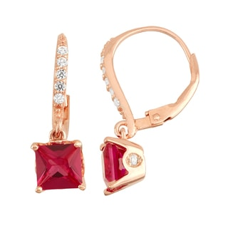 Gioelli Rose Goldplated Silver Diamond Accent Ruby Leverback Earrings