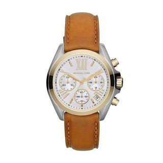 Michael Kors Women's Bradshaw Silver Dial Brown Leather Strap Watch