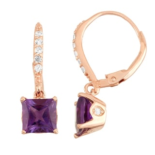 Gioelli Diamond Accent Rose Goldplated Silver Amethyst Leverback Earrings