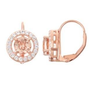 Gioelli Rose Goldplated Silver Morganite Quartz Leverback Earrings