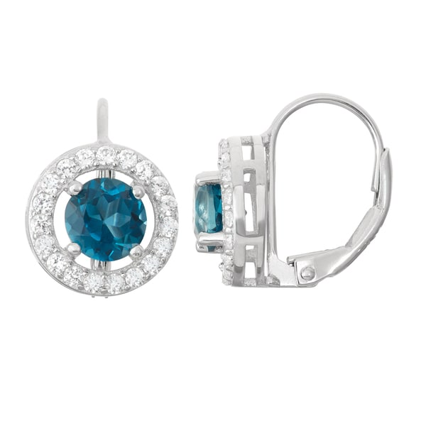 Gioelli Sterling Silver London Blue Topaz Leverback Earrings