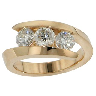 14k/18k Yellow Gold 1ct TDW 3-stone Channel-set Brilliant-cut Diamond Ring (G-H, SI1-SI2)