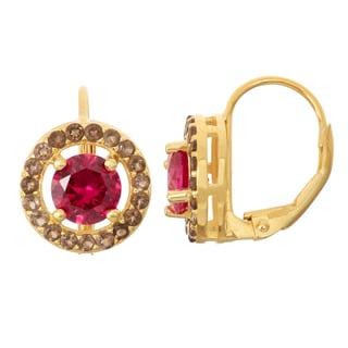 Gioelli Goldplated Silver Ruby and Smoky Quartz Leverback Earrings