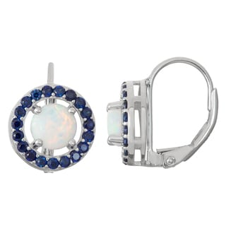 Gioelli Sterling Silver Opal and Sapphire Leverback Earrings