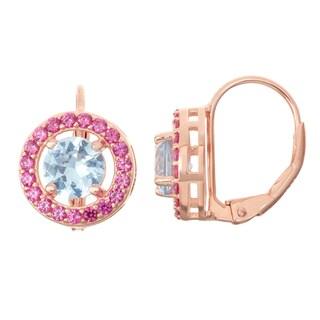 Gioelli Rose Goldplated Silver Aqua and Ruby Leverback Earrings