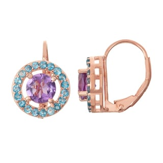 Gioelli Rose Goldplated Silver Amethyst and London Blue Topaz Leverback Earrings