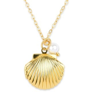 Ornate Clam Shell Picture Locket Necklace with Pearl