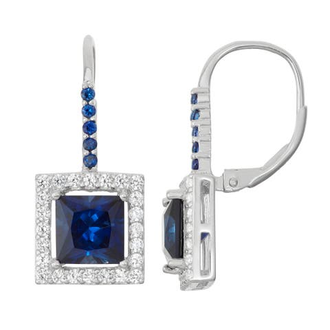 Gioelli Sterling Silver Sapphire Leverback Earrings