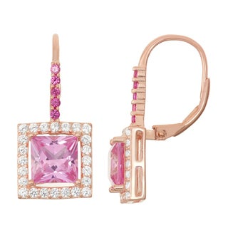 Gioelli Rose Goldplated Silver Pink Sapphire and Ruby Leverback Earrings