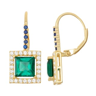 Gioelli Goldplated Silver Emerald and Sapphire Leverback Earrings