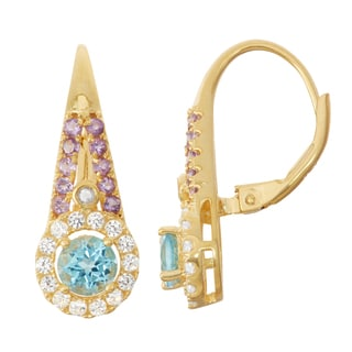 Gioelli Goldplated Silver Diamond Accent Swiss Blue Topaz, Amethyst and White Sapphire Leverback Earrings