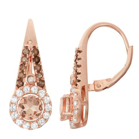 Gioelli Rose Goldplated Silver Diamond Accent Morganite Quartz, Smoky Quartz and White Sapphire Leverback Earrings