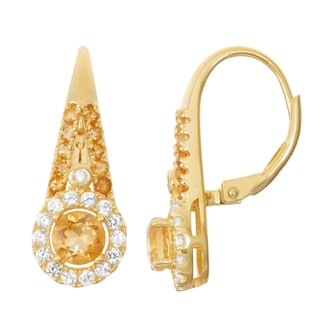 Gioelli Goldplated Silver Diamond Accent Citrine and White Sapphire Leverback Earrings