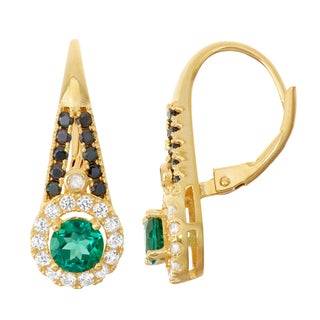 Gioelli Goldplated Silver Diamond Accent Emerald, Black Spinel and White Sapphire Leverback Earrings