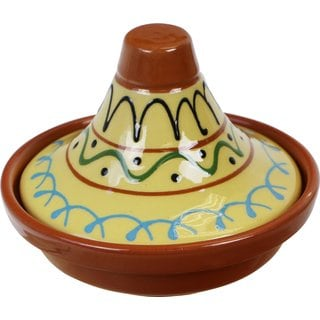 Reston Lloyd Eurita Terra Cotta Mini Tagine 1/2-cup Sauce Side Dish with Seville Pattern (Set of 2)