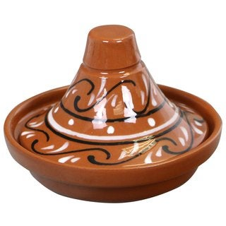 Reston Lloyd Eurita Terra Cotta Mini Tagine 1/2-cup Sauce Side Dish with Marbella Pattern (Set of 2)