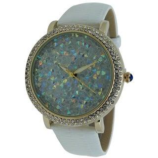 Women's Jumbo Two Row CZ Gold Bezel Glitter Dial Watch with Faux Leather Band