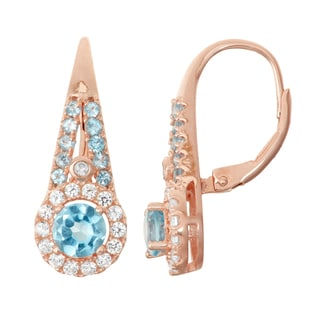 Gioelli Rose Goldplated Silver Diamond Accent Aqua, Swiss Blue Topaz and White Sapphire Leverback Earrings