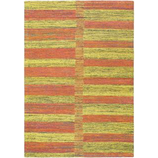 Ecarpetgallery Handmade Fab Dhurrie Brown and Yellow Rug (4'6 x 6'7)