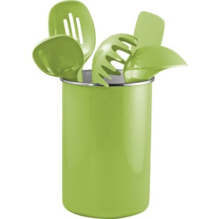 Reston Lloyd Enamel on Steel Utensil Holder and 5 Piece Utensil Set in Lime