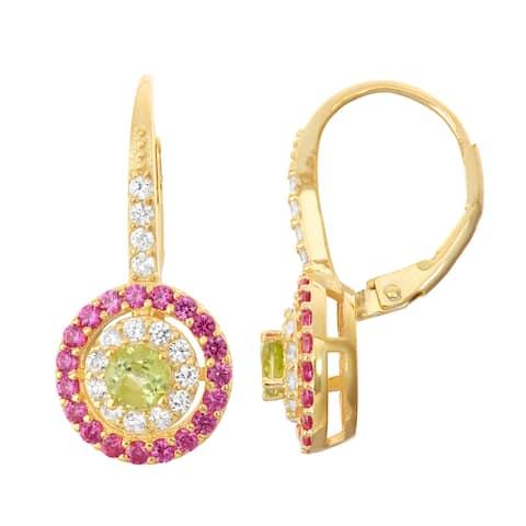 Gioelli Goldplated Silver Peridot, Ruby and White Sapphire Leverback Earrings