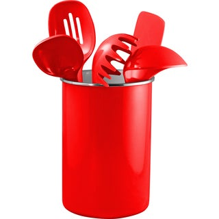 Reston Lloyd Enamel on Steel Utensil Holder and 5 Piece Utensil Set in Red