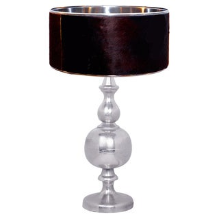 Urban Designs Pyke Nickel And Natural Cowskin Fur Table Lamp