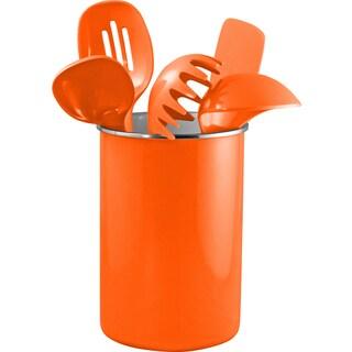 Reston Lloyd Enamel on Steel Utensil Holder and 5 Piece Utensil Set in Orange