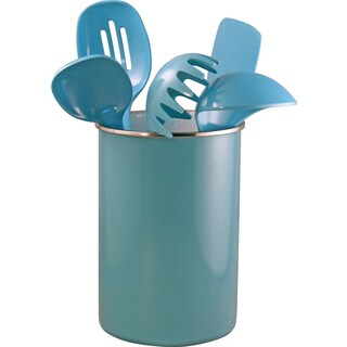 Reston Lloyd Enamel on Steel Utensil Holder and 5 Piece Utensil Set in Turquoise