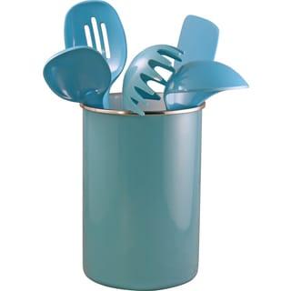Reston Lloyd Enamel on Steel Utensil Holder and 5 Piece Utensil Set in Turquoise