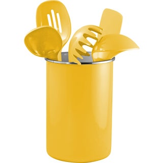 Reston Lloyd Enamel on Steel Utensil Holder and 5 Piece Utensil Set in Yellow