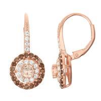 Gioelli Rose Goldplated Silver Morganite Quartz, Smoky Quartz and White Sapphire Leverback Earrings