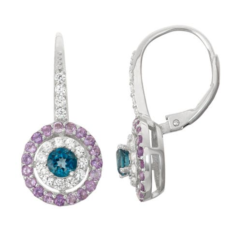 Gioelli Sterling Silver London Blue Topaz, Amethyst and White Sapphire Leverback Earrings