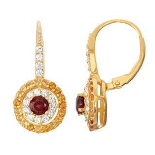 Gioelli Goldplated Silver Garnet, Citrine and White Sapphire Leverback Earrings