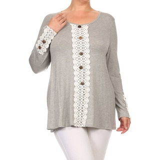 MOA Collection Plus Size Women's Lace Trim Top