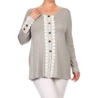 MOA Collection Plus Size Women's Lace Trim Top