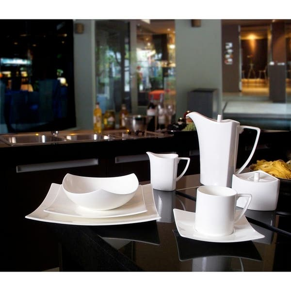 Red Vanilla Extreme White 20 Piece Dinner Set Overstock 11594285