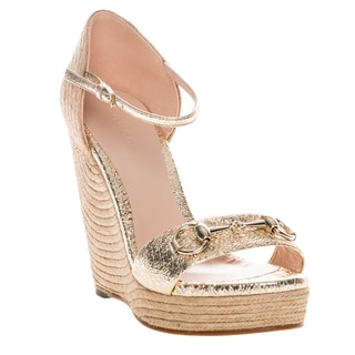 Gucci Gold Metallic Espadrille Wedge Sandals