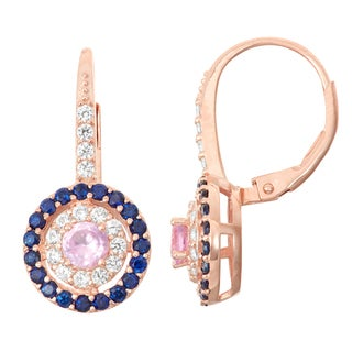 Gioelli Rose Goldplated Silver Pink Sapphire, Sapphire and White Sapphire Leverback Earrings