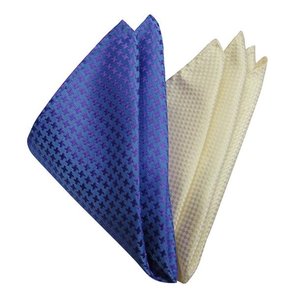 Dmitry Mens Italian Silk Blue/ Ivory Pocket Squares (Pack of 2)
