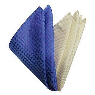 Dmitry Men's Italian Silk Blue/ Ivory Pocket Squares (Pack of 2)