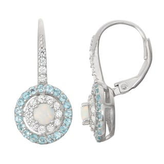 Gioelli Sterling Silver Opal, Swiss Blue Topaz and White Sapphire Leverback Earrings