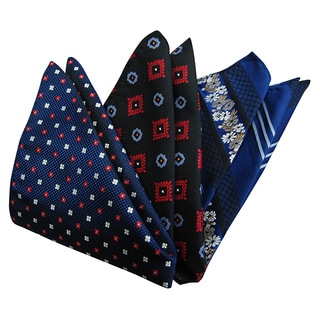 Dmitry Men's Italian Silk Blue/ Navy Pocket Squares (Pack of 3)