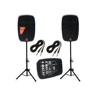 Mr. Dj PBX210COMBO Portable 10-inch 2-way Active Dual Speaker System with Detachable 8 Channel Mixer