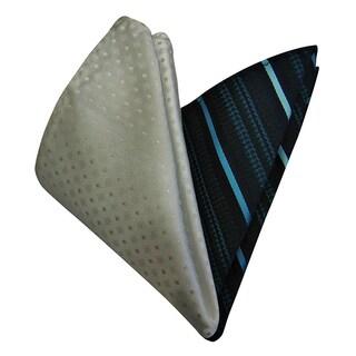 Dmitry Men's Italian Silk White/ Teal Pocket Squares (Pack of 2)