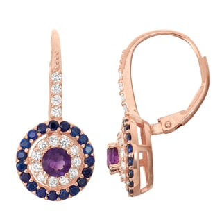 Gioelli Rose Goldplated Silver Amethyst and Blue and White Sapphire Leverback Earrings