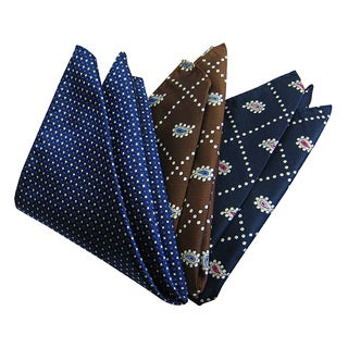 Dmitry Men's Italian Silk Blue/ Brown/ Navy Pocket Squares (Pack of 3)